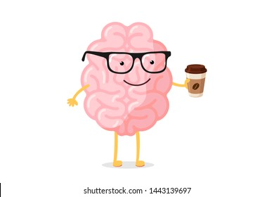 Cartoon smart happy smiling human brain character with glasses holds cup hot drink coffee or tea. Central nervous system organ wake up good morning funny concept. Vector illustration