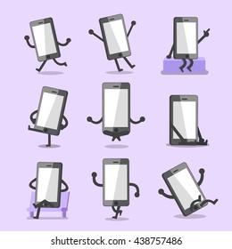 Cartoon smartphone character poses