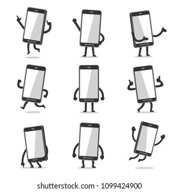 Cartoon smartphone character poses with empty screen for design.