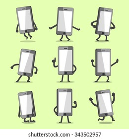 Cartoon smartphone character poses with empty screen