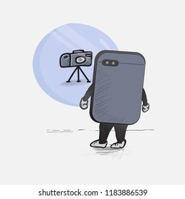 cartoon smartphone see itself being a digital camera in the mirror, vector illustration