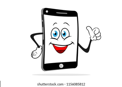 Cartoon smartphone smiles and shows like. Fun vector illustration.