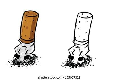 Cartoon smashed cigarette - Vector clip art illustration on white background