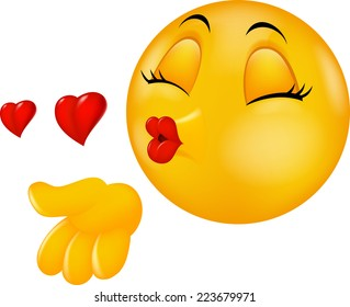 Cartoon smiley emoticon making air kiss