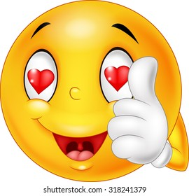 Cartoon smiley love face and giving thumb up. illustration
