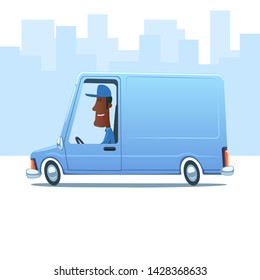 Cartoon smiling black man driving a service van against the background of city.