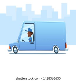 Cartoon smiling black woman driving a service van against the background of city.