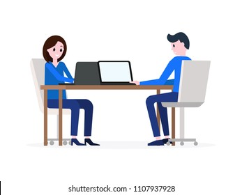 Cartoon smiling boy and girl sitting at desktop opposite each other and using laptop pc vector illustration. Young people looking at displays of notebook and typing something