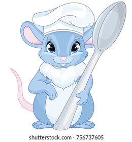 Cartoon Smiling Chef Mouse
