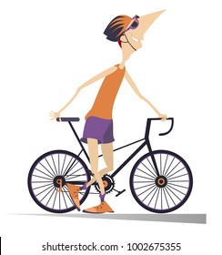 Cartoon smiling cyclist man in helmet stays holding a bike isolated illustration vector