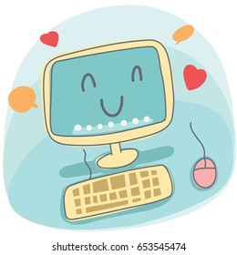 cartoon smiling desktop computer illustration.