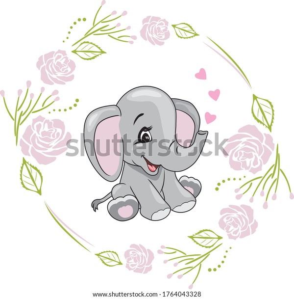 cartoon-smiling-elephant-hearts-floral-6