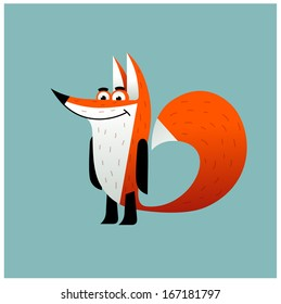 Cartoon smiling fox