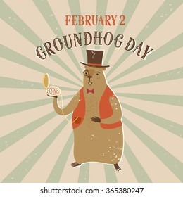 Cartoon smiling groundhog with clock wearing hat. Retro background with grungy texture. Vintage Groundhog Day poster with title for your design.