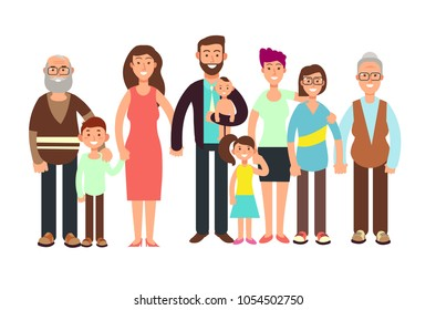 Cartoon smiling happy family. Grandpa and grandma, dady, mom and children vector illustration. Family father and mother, child girl boy