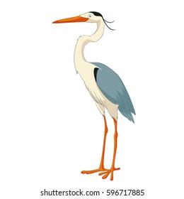 Cartoon smiling Heron