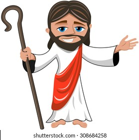 Cartoon smiling Jesus opens his hand holding stick isolated