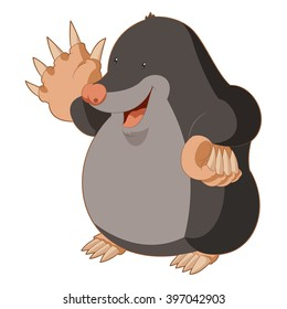 Cartoon smiling Mole