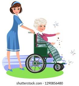 Cartoon smiling nurse helping woman in wheelchair