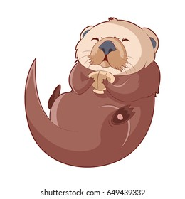 Cartoon smiling Otter