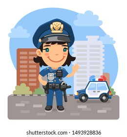 A cartoon smiling policewoman is standing in front of a city and a police car. Composition with a professional woman. Flat female character.