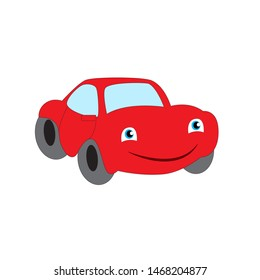 Cartoon smiling red car isolated on a white background.
