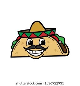 Cartoon Smiling Taco Character Illustration
