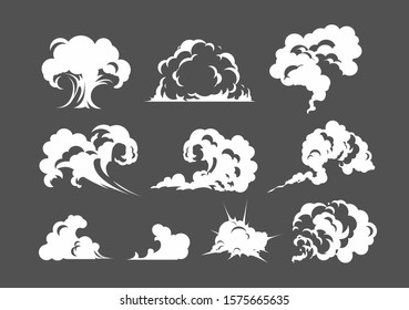 Cartoon smoke cloud. White smoke steam explosion dust fog smog gas blast dust  game cartoon, icon. Fog flat isolated clipart for design, effects and advertising posters