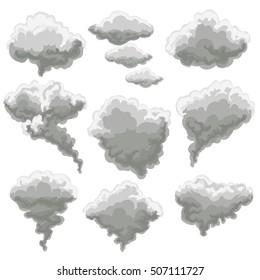 Cartoon smoke vector illustration. Smoking gray fog clouds on white background