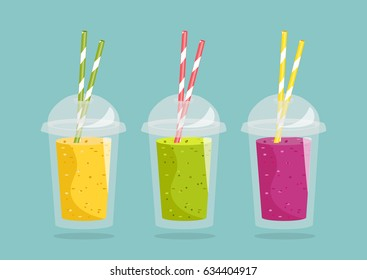 Cartoon smoothie in a transparent plastic glass. Vector illustration. Smoothie with different flavours, take away. Healthy fresh juice fresh.