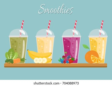 Cartoon smoothies. Orange,  berry, banana and green  smoothie.