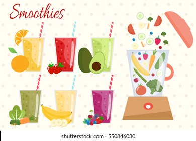 Cartoon smoothies. Orange, strawberry, berry, banana and avocado smoothie. Organic fruit shake smoothie. Food processor, mixer, blender with fruits, vegetables and berries.