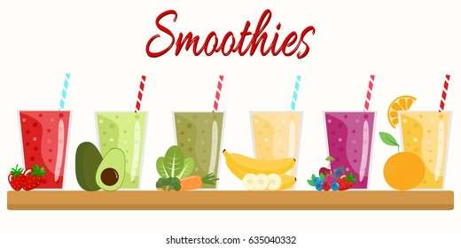 Cartoon smoothies. Orange, strawberry, berry, banana and avocado smoothie. Organic fruit shake. Flat design. Vector illustration.