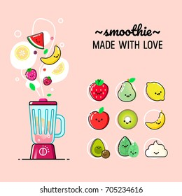 Cartoon smoothies set. Blender with fruits, vegetables and berries ingredients. Flat design vector illustration.