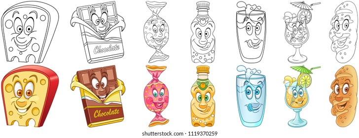 Cartoon Snack Collection. Food and Drinks. Coloring pages and colorful designs for coloring book, t-shirt print, icon, logo, label, patch, sticker. Vector illustrations.