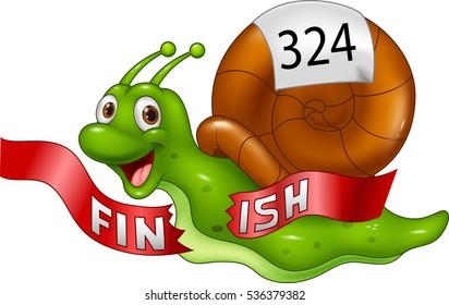 Cartoon snail crosses the finish line alone as winner