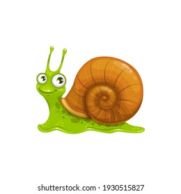 Cartoon snail vector icon, funny cochlea insect with cute smiling face and big eyes. Mascot, kids design element, wild creature crawl isolated on white background