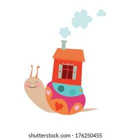 Cartoon snail vector illustration