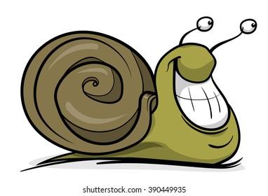 Cartoon snail. Vector illustration.