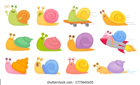 Cartoon snails. Slug on on startup rocket, skateboard and sleeping, yawning and fast vector kids characters set. Eating leaf, greeting and saying hi, different emotions as sad, happy