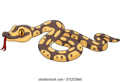 Cartoon snake character isolated on white background