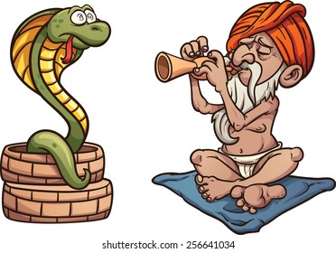 Cartoon snake charmer. Vector clip art illustration with simple gradients. Both characters on separate layer.