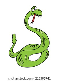 cartoon snake, contour vector illustration