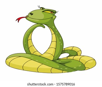 Cartoon snake in isolate on a white background. Vector illustration.