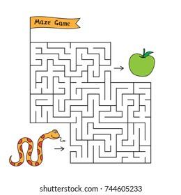 Cartoon snake maze game. Funny game for children education
