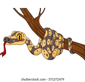 Cartoon snake on a tree branch