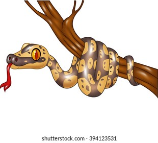 Cartoon snake on a tree branch