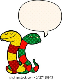 cartoon snakes with speech bubble in comic book style