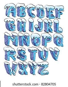 cartoon snow alphabet hand lettered - illustration