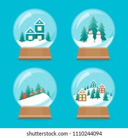 Cartoon Snow Globe Icons Set Celebration Concept Element Flat Design Style. Vector illustration of Icon Holiday Ball Decoration